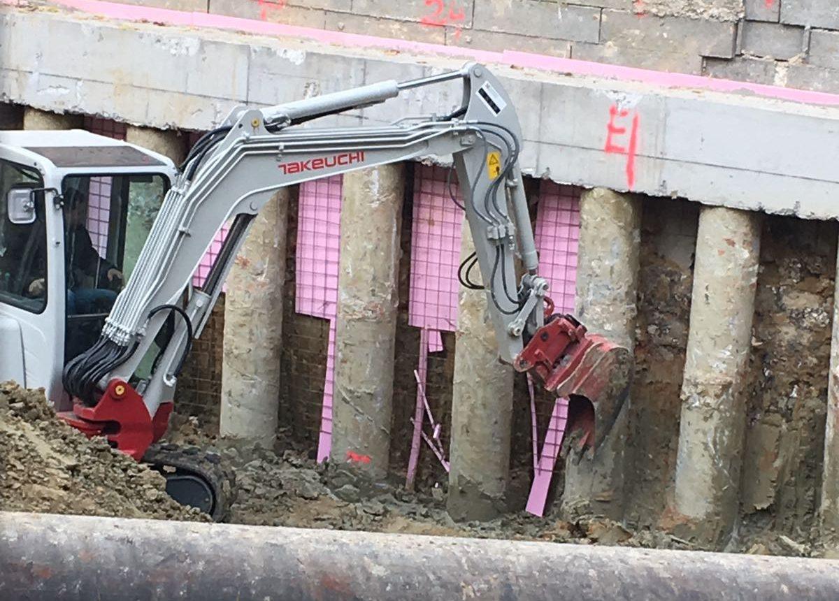 Bauarbeiten für einen Lückenverbau Wohnhausanlage in Wien