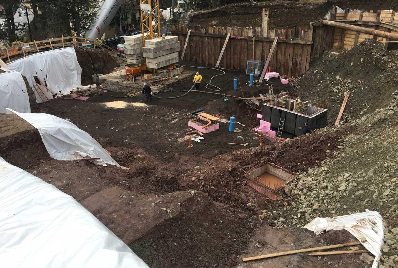 Baugrube für Villa in Wien